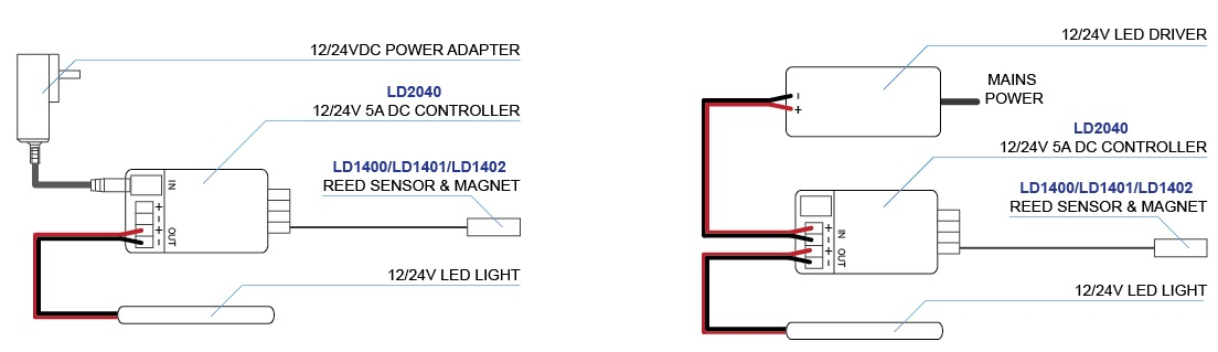 LD2040 connections for power adapter and LED driver