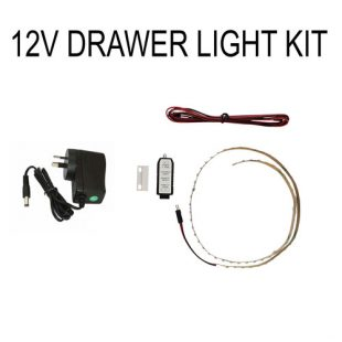 12V drawer light kit with LED strip and magnet on drawer