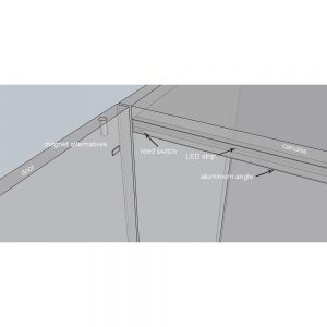 Xray view of cabinet lighting components