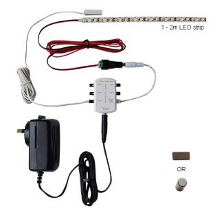Pelmet lighting kit parts. Power adapter, DC controller, reed sensor, LED strip and connecting cable