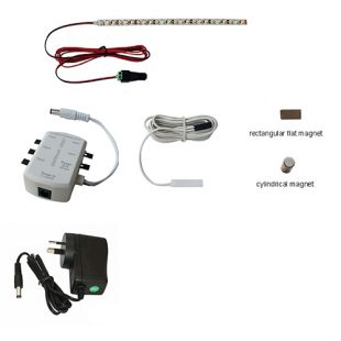 pelmet led lighting kit for one or two doors with either a flat magnet or a cylindrical magnet for door switched activation