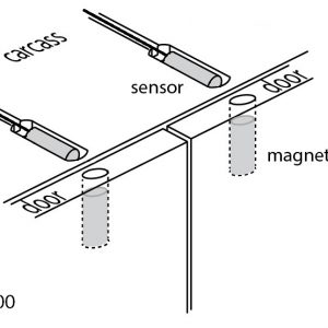 Diagram for a two door switch system with the LD1400 reed sensor and magnet kit