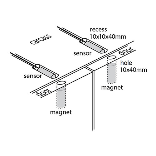 Reed sensors and magnets - xray view