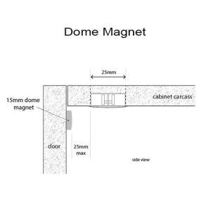 LD2016 magnetic door switch installation with dome magnet