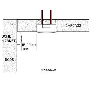 LD2022 recessed with dome magnet
